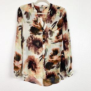 Haute Hippie Floral Silk Fall Long Sleeve Blouse